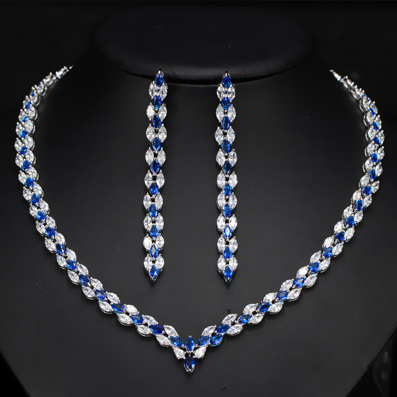 Collier bleu et boucles d'oreilles dames ensembles de bijoux pour mariage
