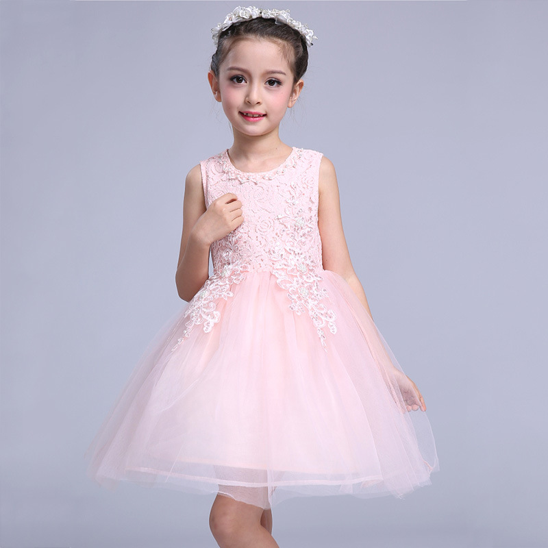 Summer Flower Girls Dress Baby Girl Pink Lace Sleeveless Princess Dress 2017 Kids Clothes Children Dresses For Party And Wedding  title=