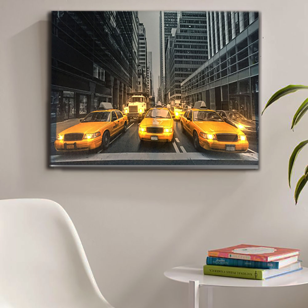 Led Modern imagem lona de arte da decoração da parede Nova iorque táxi amarelo carro luz up pintura cópia do cartaz do quadro de decoração para casa