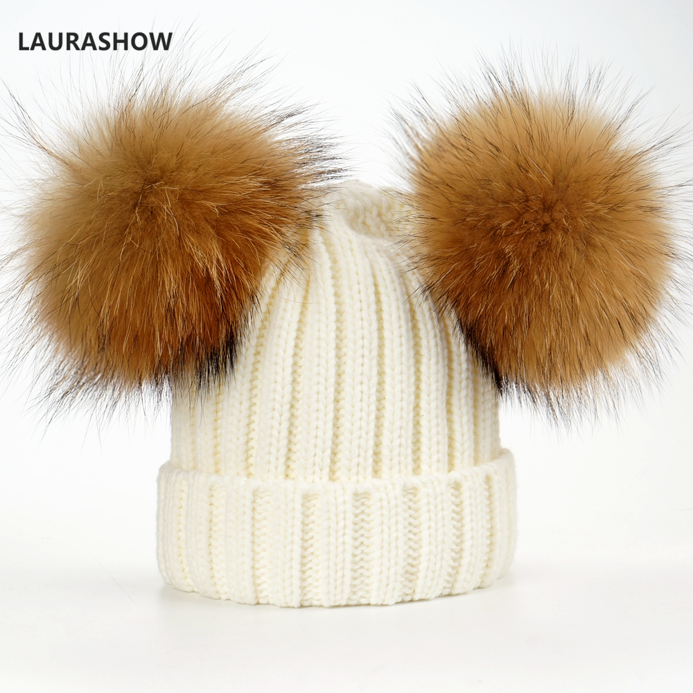 3d64be999a3 LAURASHOW Winter Cap 16cm Double Real Raccoon Fur Ball Pom Poms Hat For  Adult Hat Knitted