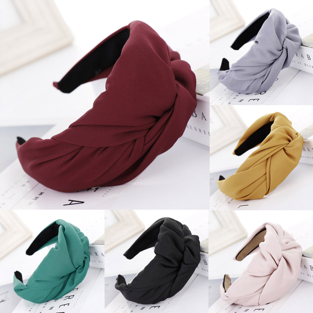 New Fashion Western Style Solid Thicken Padded Headband Bezel Turban Women Hairbands Girls Accessories Wide Bow Knot Hair Hoop