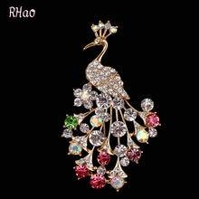 Женская Брошь с павлином rhao элегантная разноцветная хрусталь