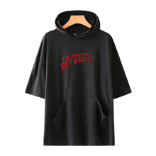 LUCKYFRIDAYF High Quality Fashion RED Velvet Print Hoodies Women Clothes Hot Sale Caps Short Sleeve Hooded Casual Kpop Hoodie
