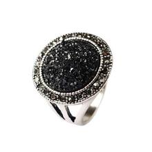 Vintage Style Ring Antique Silver Color Black Broken Stone Rhinestone Filled Men Ring Jewelry Size 7-10(China)
