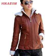 Hoody Faux Leather Jacket Women Jaqueta De Couro Feminina PU  Suede Women's Short Motorcycle Biker Jacket Coat Chaquetas Mujer