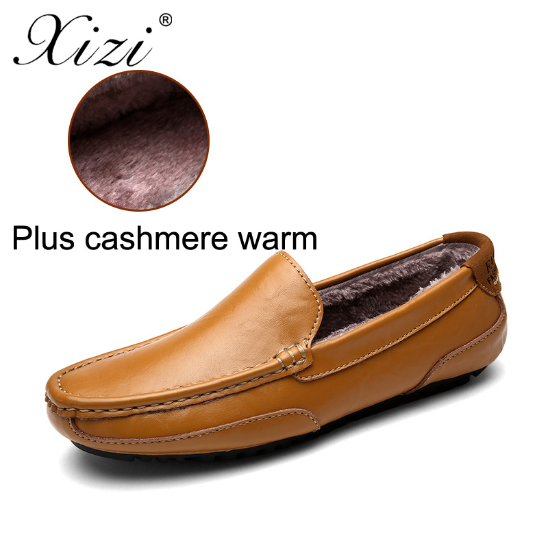 VQRN Winter Men Flats Genuine Leather Shoes Mens Loafers Moccasins Warm Plush Driving Shoes Male Fashion Slip On Shoes npezkgc new arrival casual mens shoes suede leather men loafers moccasins fashion low slip on men flats shoes oxfords shoes