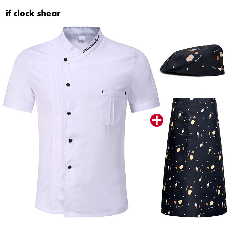 Unisex White Short Sleeve Restaurant Kitchen Uniform Catering Work Clothes Men Jacket Hat Apron Wholesale Shirt Men Chef M-4XL