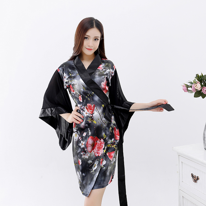 Adult Women Japanese Kimono Satin Robes Silk Wrap Dress Black Pink  Exotic Sleepwear Long Sleeve Nightgown For Ladies