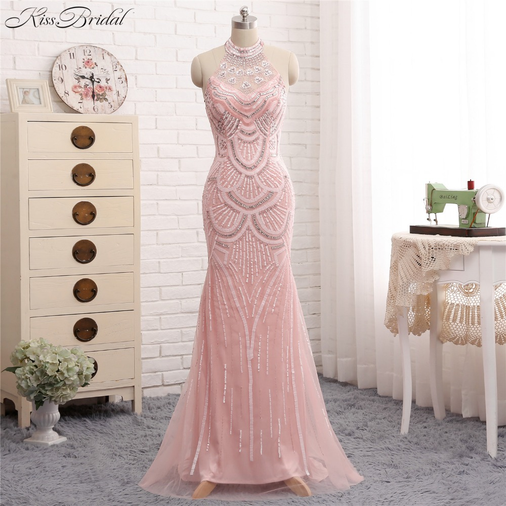 Newest Design Pink   Evening     Dresses   Long 2018 Halter Neck Applqiued Beading Prom   Dress   Party Gowns Mermaid
