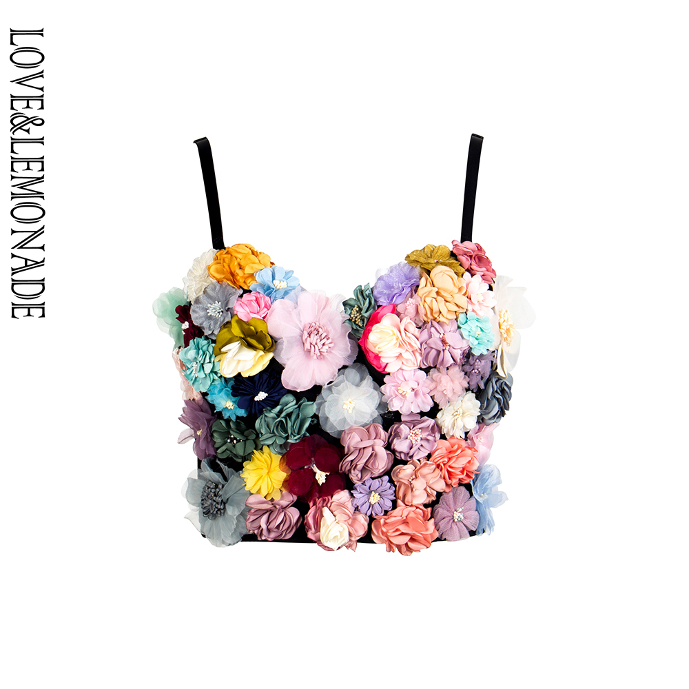 LOVE LEMONADE Colorful Three Dimensional Flower Embroidery Tube Top Strap LM90038
