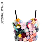 Amor & limonada colorido tridimensional flor bordado tubo alça superior lm90038