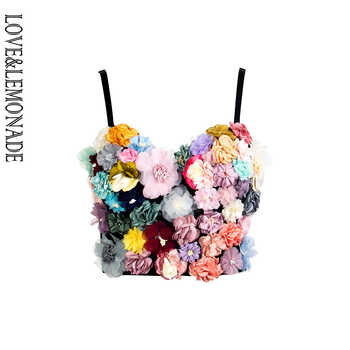 LOVE&LEMONADE Colorful Three-Dimensional Flower Embroidery Tube Top Strap LM90038 - DISCOUNT ITEM  10% OFF All Category