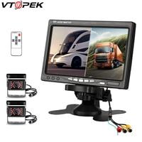 Vtopek 7'' Car Monitor HD Car Screen 2 Split Screen PAL NTSC 2 Video Input Remote Control Intelligent CPU 4 PIN Reverse Camera