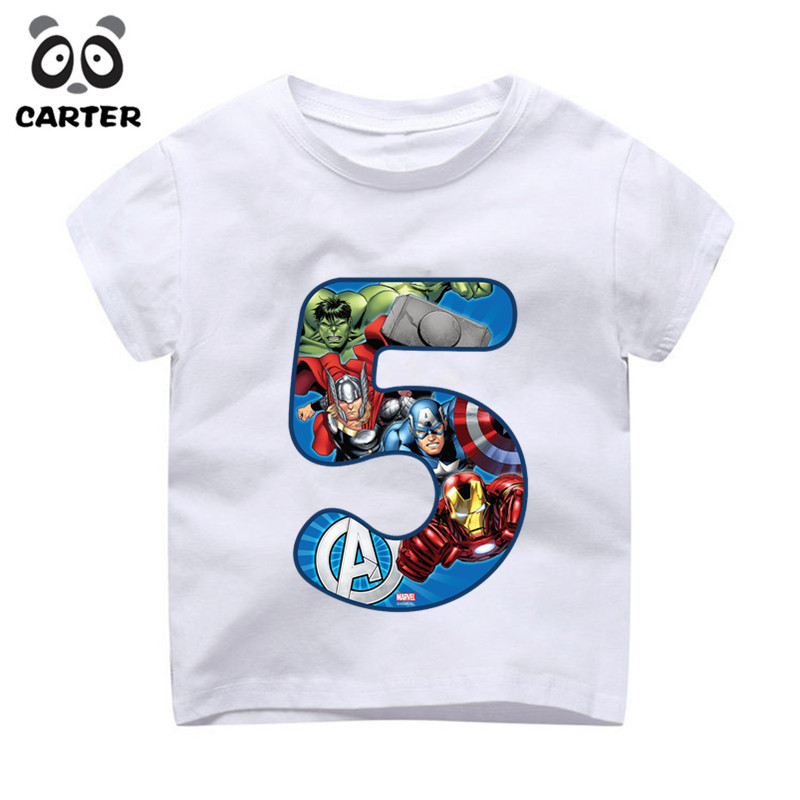Kids Happy Birthday Avengers Number 19th T Shirts Boy And Girl Superhero Tshirt