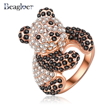 Beagloer Wholesale Lovely Panda Shaped Engagement Rings With Rose Gold Plating & Czech Crystals Wedding Jewelry Ri-HQ0179