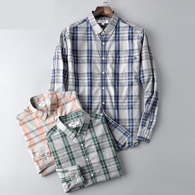 Nova chegada da Primavera outono mens moda Camisa de Manga Longa Homens 100% Puro Algodão Xadrez Camisas Casual plus size MLXL2XL3XL4XL5XL6XL