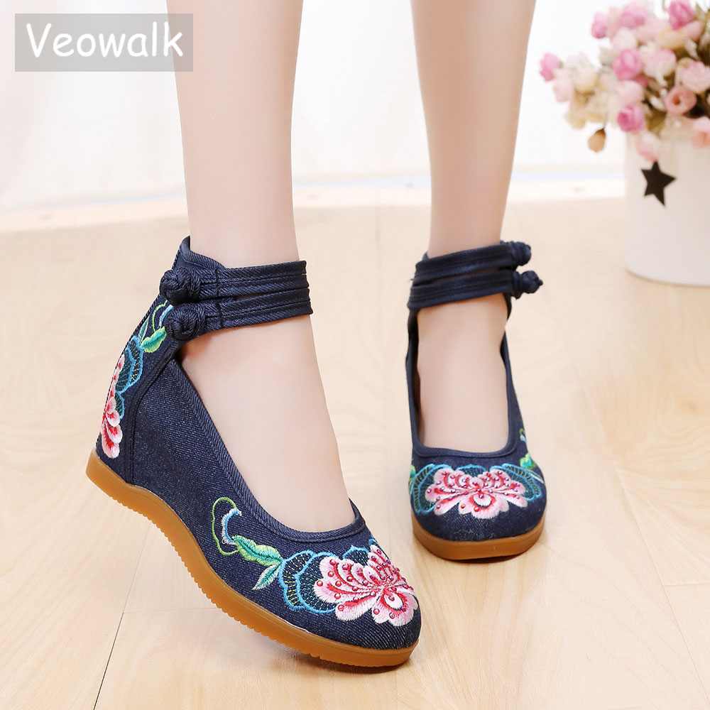 Veowalk Hidden 3cm Med Heels Women's Canvas Embroidered Pumps High Top Ankle Strap Ladies Casual Wedged Shoes Soft Comfort