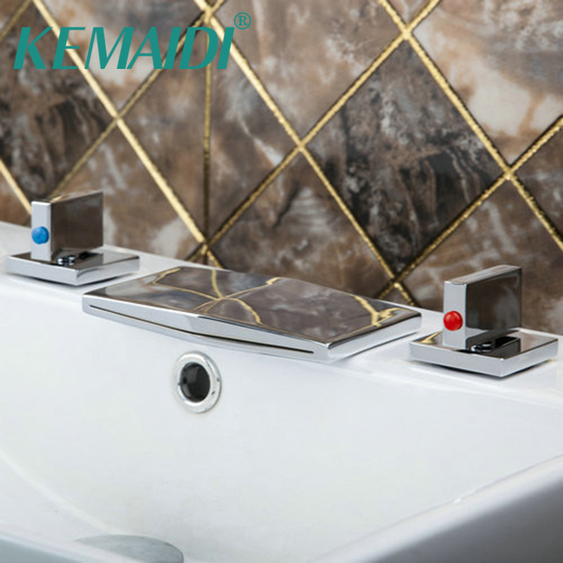 KEMAIDI Bathtub Chrome Finished Waterfall Spout+Double Handles Deck Mounted Shower Bathroom Basin Sink Brass Tap Mixer Faucet polished chrome double cross handles wall mounted bathroom clawfoot bathtub tub faucet mixer tap w hand shower atf902