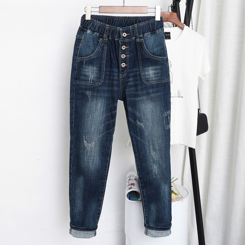 Plus Size XL-5XL Spring Autumn Women Denim Jeans High Waist Harem Pants Loose Trousers Blue Casual Jean Femme 2019