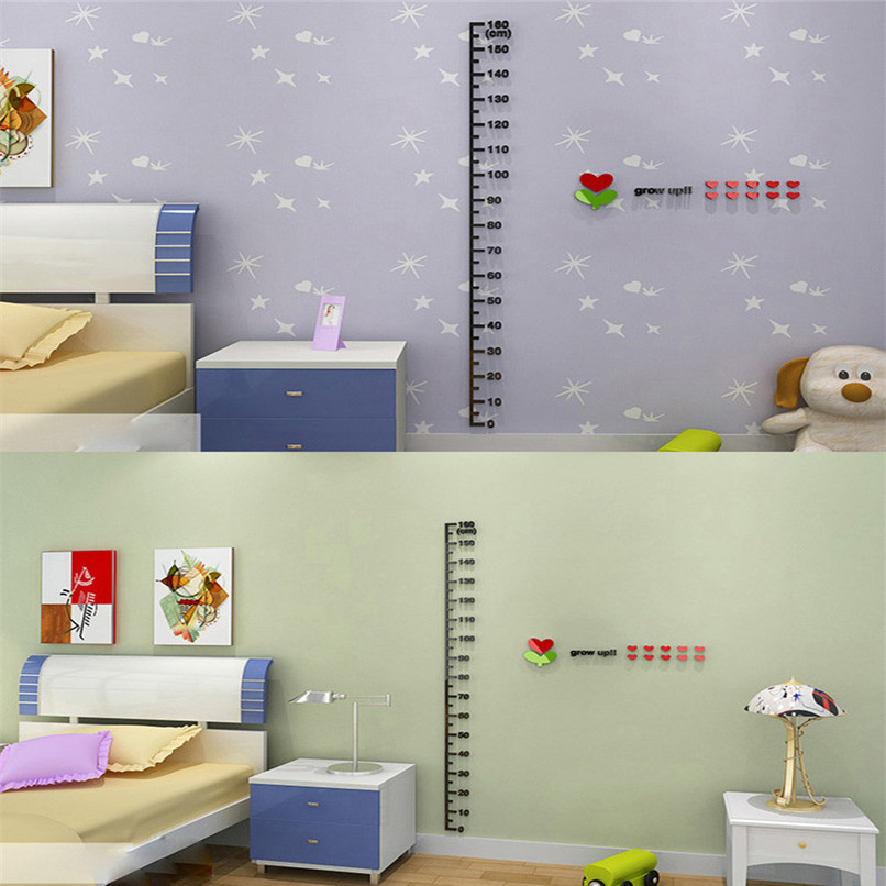 US $3 95 22% OFF|Kid Home Deco Height Ruler Measure Chart DIY 3D Acrylic  Crystal Wall Stickers Wholesale Free Shipping 30Raug4 #3T5-in Wall Stickers