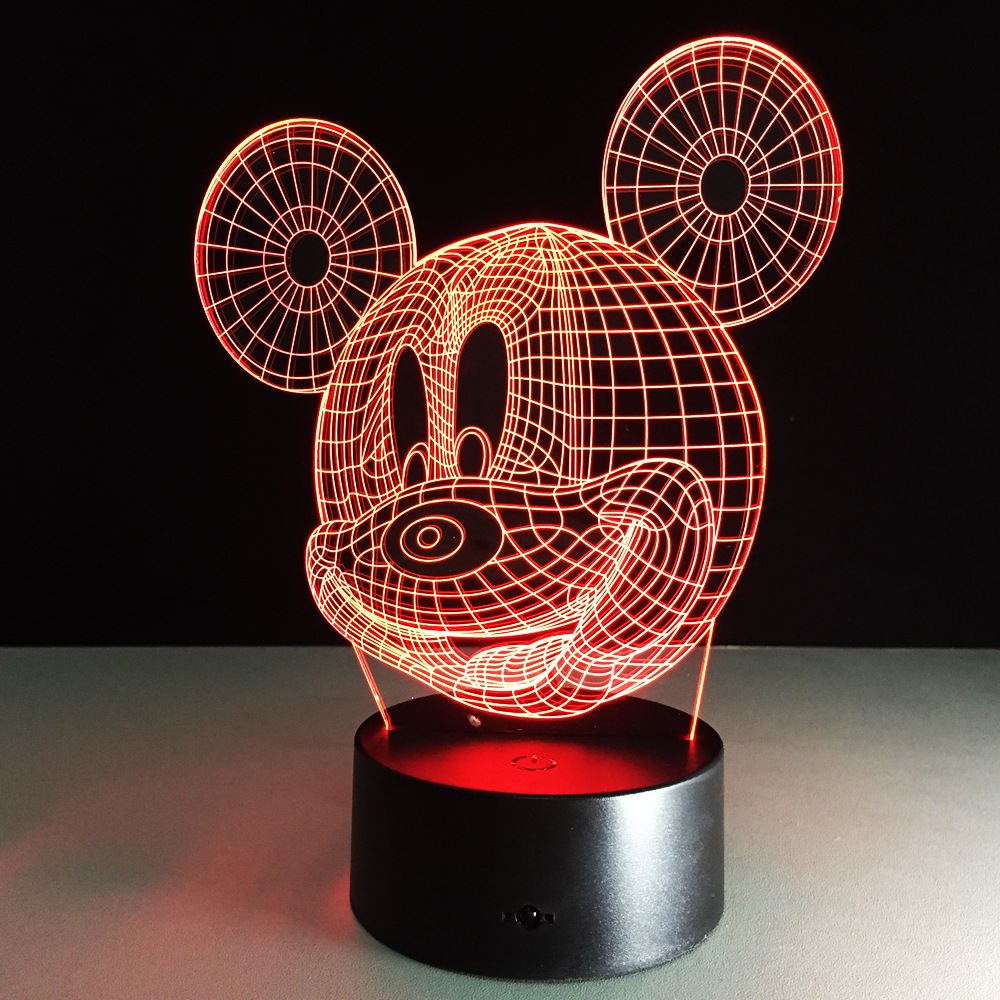 Cartoon Mickey Mouse Illusion Led Night Light Colorful Hologram Remote Control Table Lamp For Christmas Gift In Lights From Lighting On