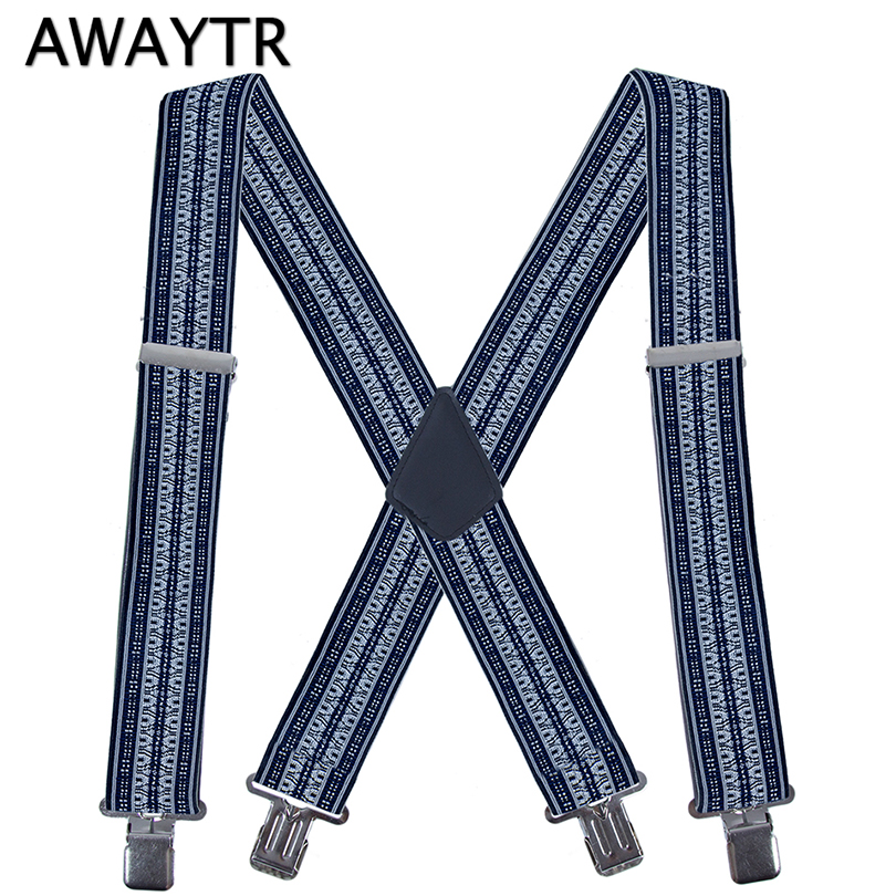 AWAYTR Male 2 Inch 50 Mm Wide Adjustable Four Clip-on Y- Back Elastic Black Grey Heavy Duty Braces Suspenders MenAccessories