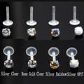Женское кольцо для пирсинга с прозрачным опалом и цирконом, 16 г