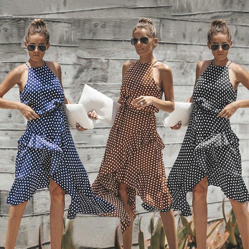 Las mujeres del verano tamaño grande punto impreso Tie Up Sexy vestido asimétrico sin mangas de hombro elegante correa de la colmena Vestidos