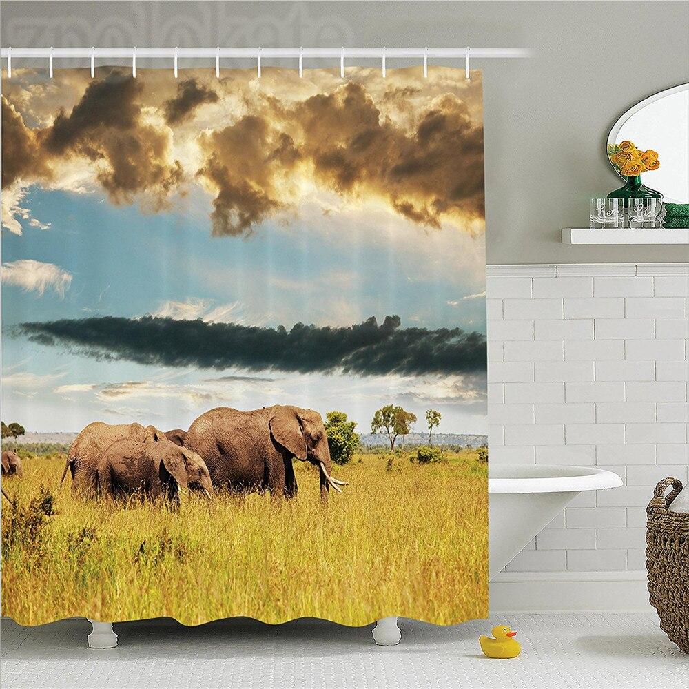 Bathroom Products African Safari Giraffe Elephant Sunset Custom Waterproof Polyester Fabric Shower Curtain For Bathroom 60 X 72 Modern Techniques