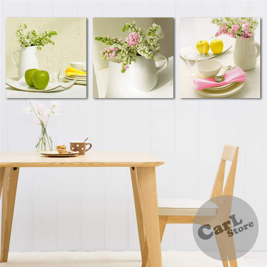 3 pieces hot sell modern wall painting fresh green kitchen for Decorative kitchen accessories uk