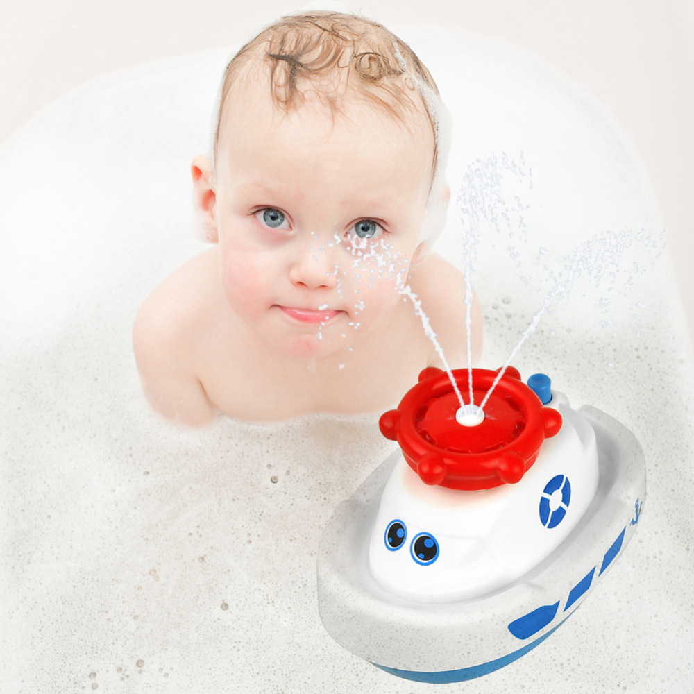 Infant Electric Rotating Water Jet Boat Toy Cartoon Spraying Water Baby Bath Toy Bathroom Shower Bathtub Water-spraying Toy trump duck bath toy shower water floating us president rubber duck baby toy water toy