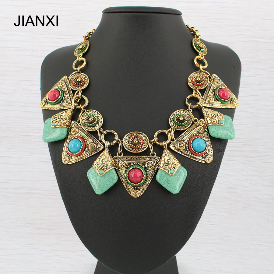JIANXI Vintage resin Choker Necklaces& pendants Maxi Women ImitationTurquoise Accessories short Chain Collar for Women jewelry noble stand up collar short sleeve see through flounced white maxi dress for women