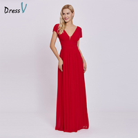 Dressv Red Long Evening Dress V Neck Cheap Cap Sleeves A Line Empire Wedding Party Formal