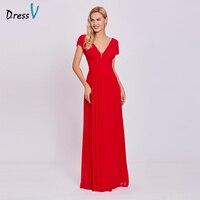 Dressv Red Long Evening Dress V Neck Cheap Cap Sleeves A Line Empire Wedding Party Formal