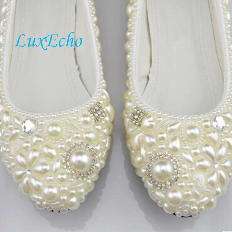 3d8be3d8d295 ... Handmade ivory pearl wedding shoes low-heeled and high heels shoes  white dress bridal shoes