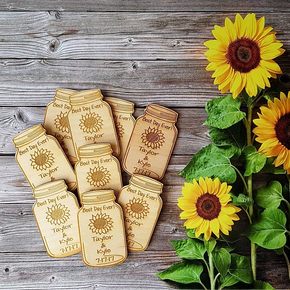 Sunflower Wedding Favor Ideas: Sunflower Design Save The Date Magnets,Custom Name And