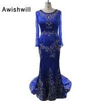 Custom Made Royal Blue Party Dress Ricamo Liste Satin Manica Lunga Vestito Convenzionale Arabo Mermaid Abito Da Sera per Le Donne