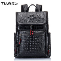 New 100% Genuine Leather Man Backpack Crocodile Men's 13 Inch Laptop Bags Travel Backpack Luxury Brand Top Grade Male Knapsack