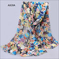 Chiffon Silk Scarf Female Summer Autumn Wrap Long Design Air Conditioning Cape Silk Scarves Shawl AX20