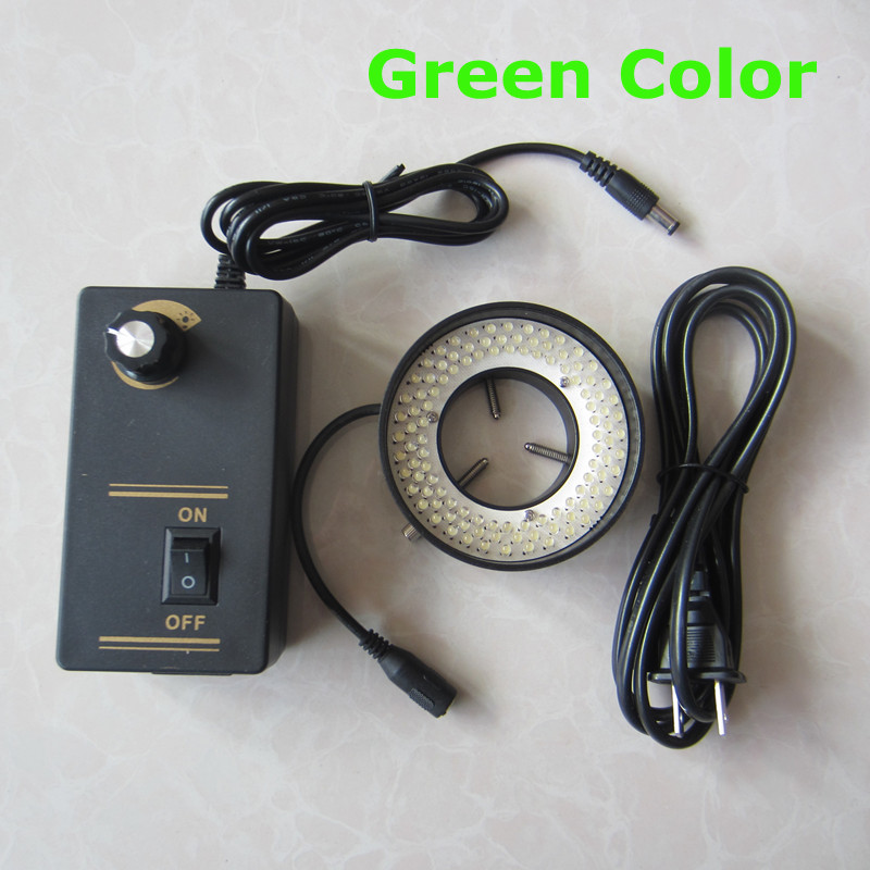 108pcs Green LED Light Illuminated Adjuatable Laboratory Biological Stereo Microscope Ring Lamp Inner Diameter 41mm 90V-264V yellow light 156pcs led adjustable zoom lamp ring lamp 8w 90v 264v 81mm inner diameter for medical stereo biological microscope