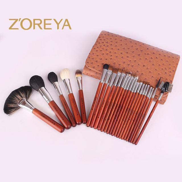 Zoreya marca 20 unids oro antiguo pelo kolinsky cepillo cosmética profesional con línea de diamante bolso de calidad superior de maquillaje herramienta