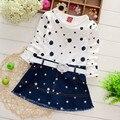 Children costume 2017 cute pattern girls dress spring round collar Long sleeves cotton denim stitch Princess dress robe fille