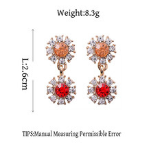 MENGJIQIAO New Arrival Rhinestone Crystal Flower Drop Earrings For Women Romantic Temperament Earings Brincos Ear Accessories