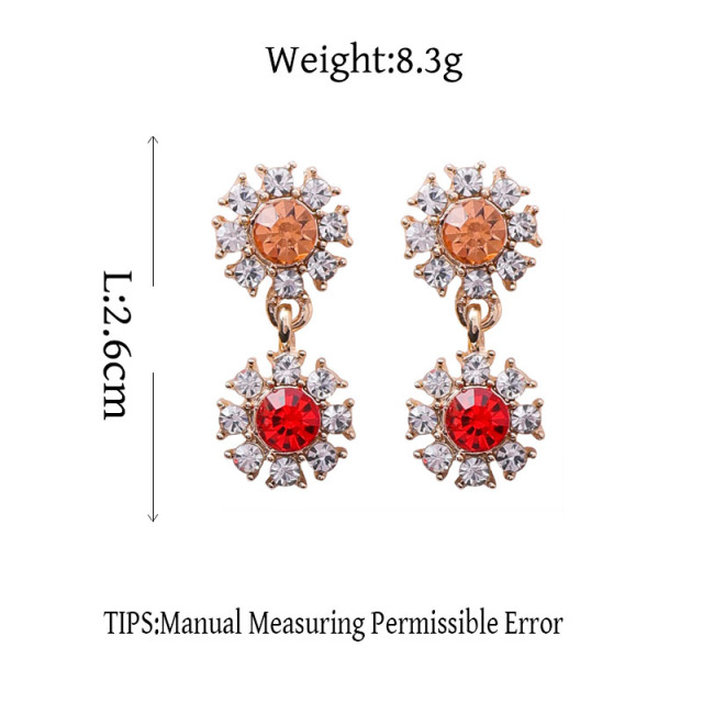 MENGJIQIAO New Arrival Rhinestone Crystal Flower Drop Earrings For Women Romantic Temperament Earings Brincos Ear Accessories
