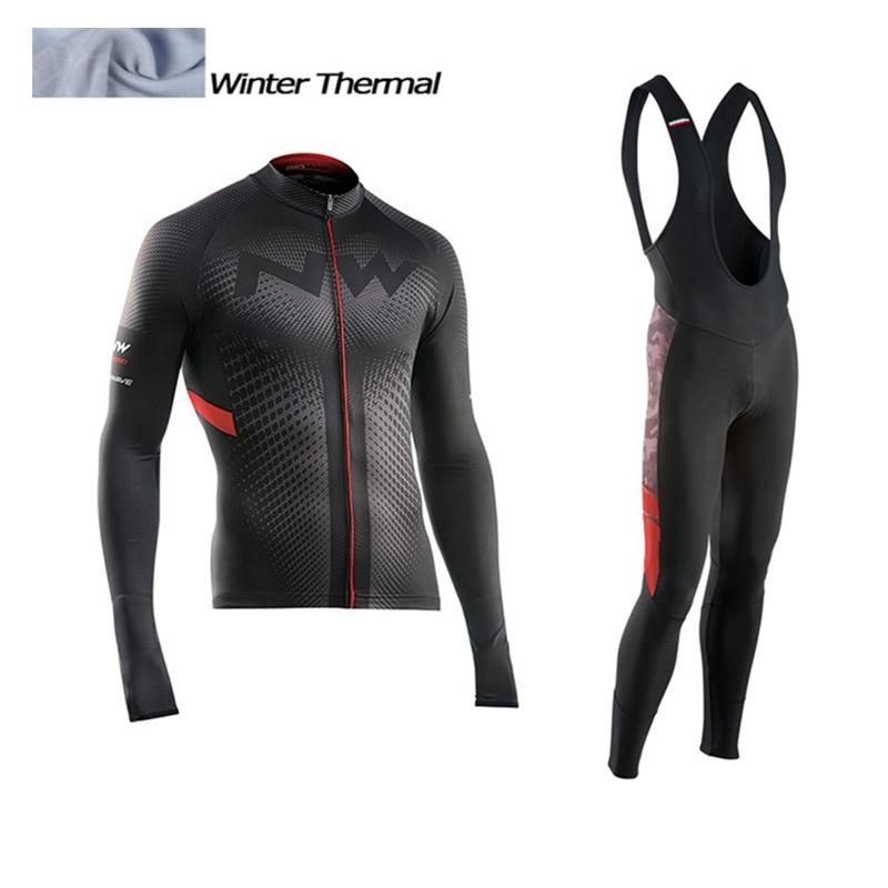 2017 NW Winter Thermal Fleece Cycling Jersey Long Sleeve Jerseys Cycling Bib Pants Set Bike Bicycle Cycling Clothes 3 Color цена