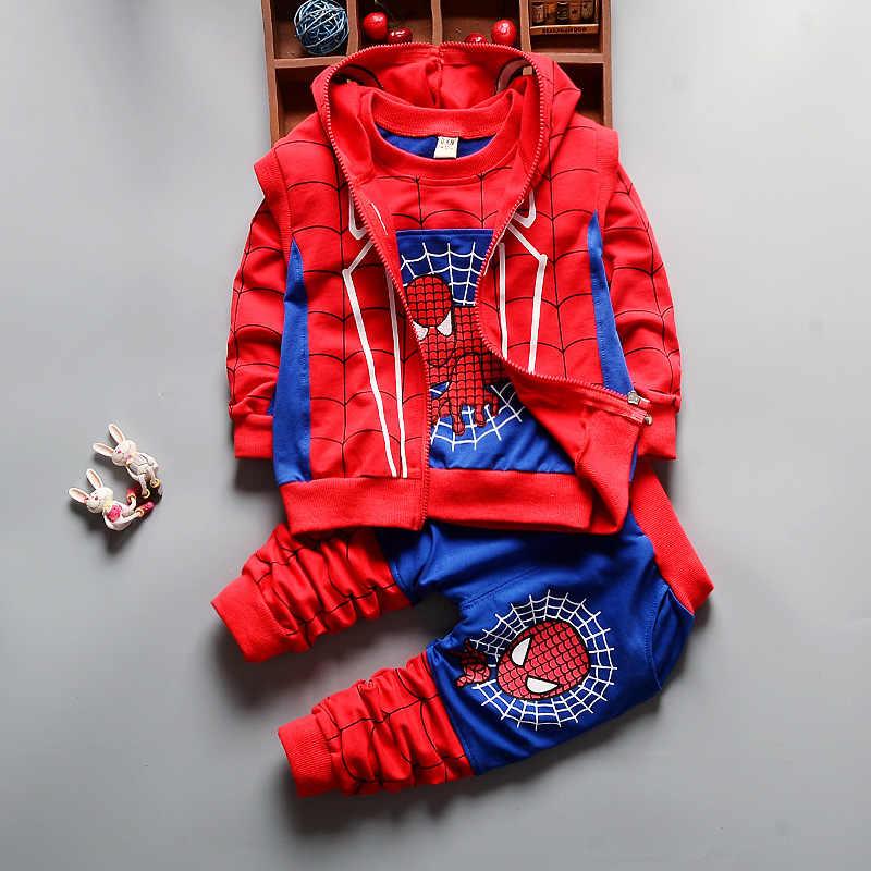 79ffc7769 2018 nuevo bebé primavera otoño Spider-Man deportes traje 3 unidades  conjunto de ropa para