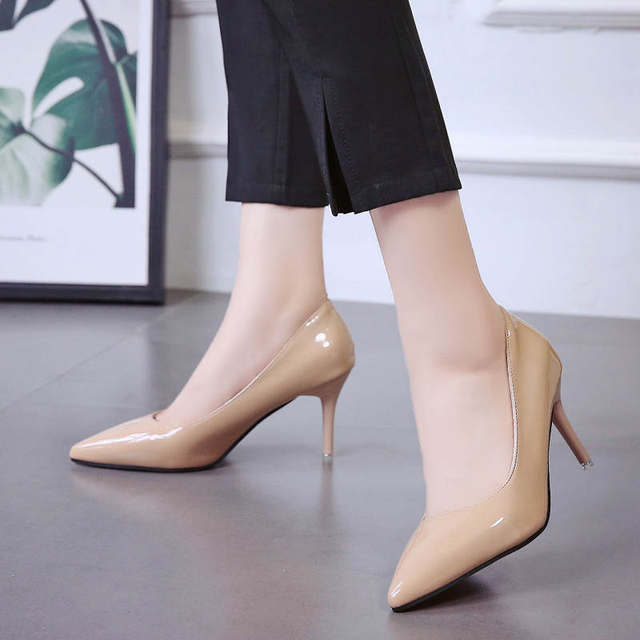 2019 HOT Women Shoes Pointed Toe Pumps Patent Leather Dress  High Heels Boat Shoes Wedding Shoes Zapatos Mujer Blue White 50