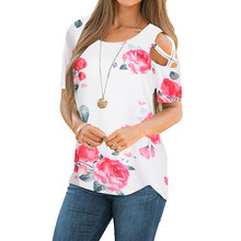 272e6f11afaa42 2018 Womens Tops and Blouses Floral Print Short Sleeve Blouse Summer Shirts  Women Clothing Cold Shoulder