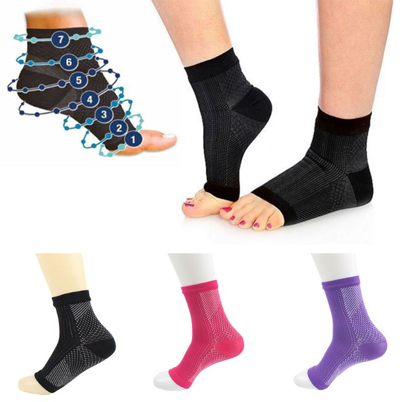 Women Men Anti Fatigue Open Toe Pilates Compression Short Sports Socks Yoga Gym Fitness Ankle Sleeve  Relief Elastic