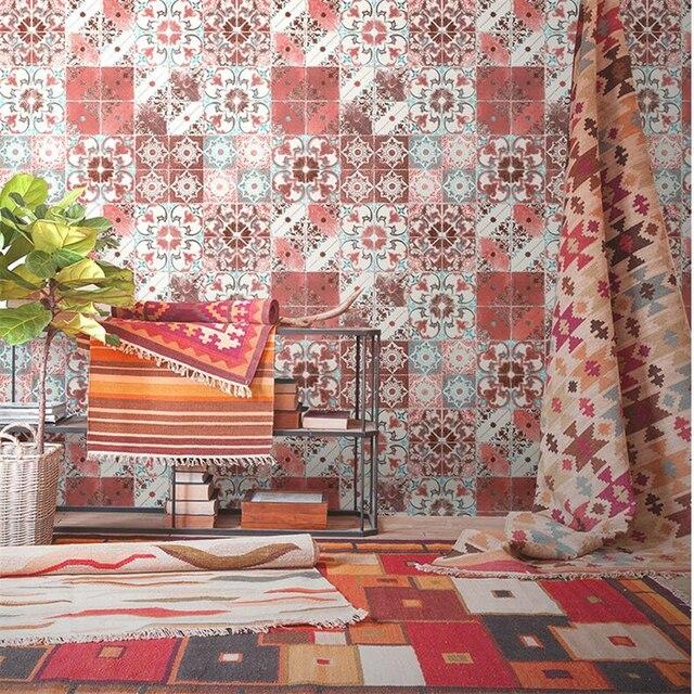 Beibehang Imitation Tiles Wallpaper Living Room Restaurant Bar Background Boho Ethnic Style Southeast Asian